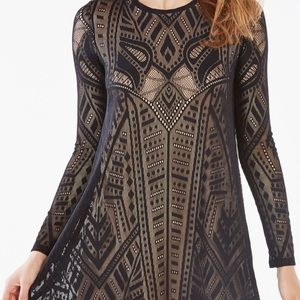 Bcbg black lace and nude dress NWOT